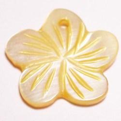 parelmoer hanger bloei geel 18 mm