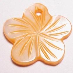 parelmoer hanger bloei oranje 18 mm