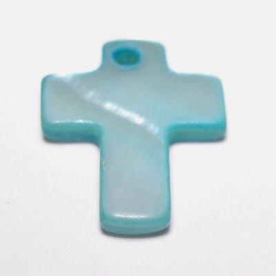 parelmoer hanger kruis turkoois 12 mm