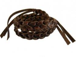 Gevlochten leren wrap armband bruin