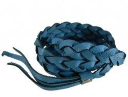 Gevlochten leren wrap armband blauw