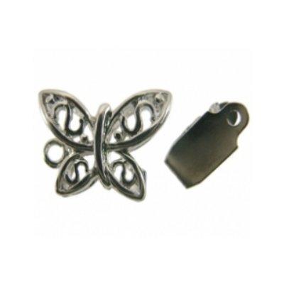 sluiting vlinder zilver15 x 10 mm