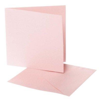 kaart vierkant l.roze 12,5x12,5 cm