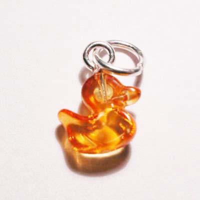 acryl eendje geel oranje 8x9 mm