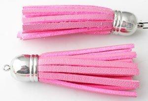 metal look hanger/imitatieleer kwast roze