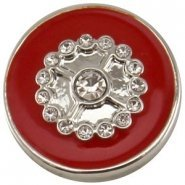 Easy button bloem strass rood