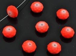 Kunststof kraal rondel facet geslepen NEON oranje
