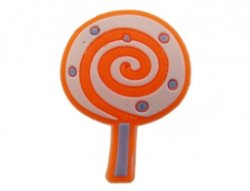 Kunststof cabochon lollie oranje 19x25mm