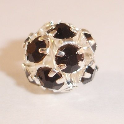 metalen strass bol 6 mm zwart