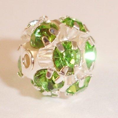 metalen strass bol 6 mm smaragd peridot