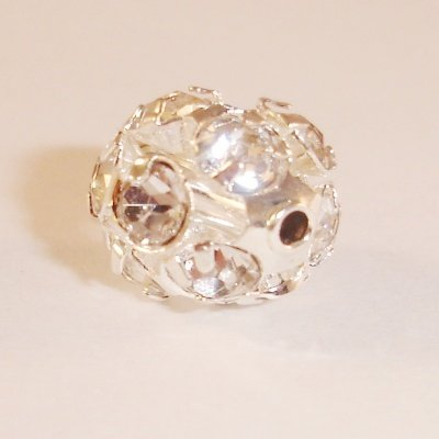 metalen strass bol 8 mm kristal