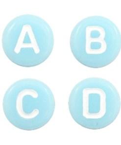 Letterkralen van acryl mix Light aqua blue-white