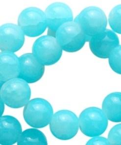 Crackled opal glaskralen 6mm aqua blue