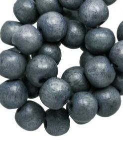 Houten Kralen Vintage Look (8 mm) Grey Blue