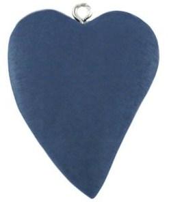 Houten bedel Hart 42x32mm blauw