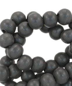 Houten kralen rond 8mm Dark antraciet grey