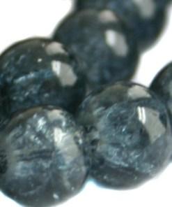 Glaskralen crackle Montana blauw 8mm