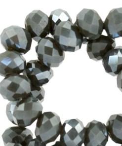 Top Facet kralen 8x6 mm disc Dark army green-pearl diamond coating