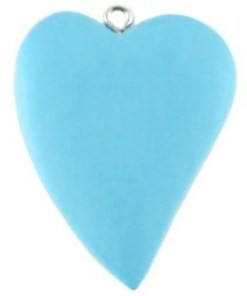 Houten bedel Hart 42x32mm Licht blauw