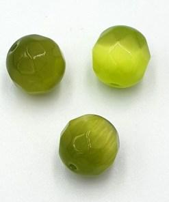 Facet kralen rond 12mm Groen cateye