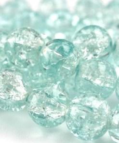 Glaskralen crackle Aqua 12mm