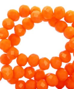 Top Facet kralen 6x4 mm disc Emberglow orange-pearl shine coating