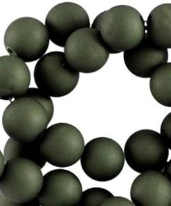10mm acryl kralen matt Dark Army green