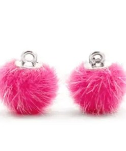 Pompom bedels light pink faux fur 12mm Magenta pink