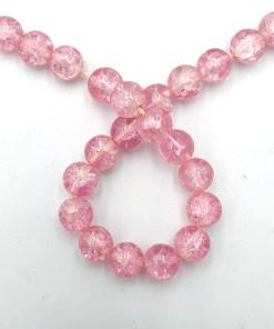 Glaskralen crackle Roze 8mm