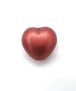 Acryl hartje Vintage rood metalic 13x13mm