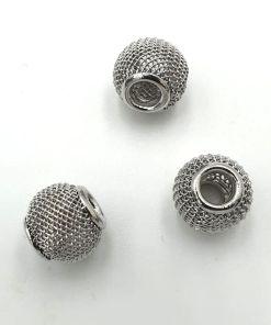 Metalen net kralen 10mm met groot gat