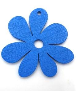 Houten bedel Bloem 23x23mm Blauw