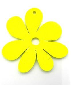 Houten bedel Bloem 23x23mm Geel Neon