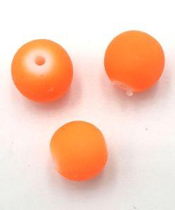 Rubber gecoate glaskralen Oranje Neon 10mm