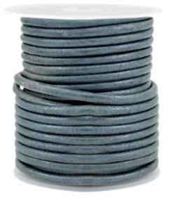DQ leer rond 3 mm Dark haze blue grey metallic