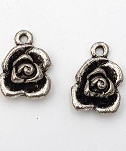 Bedel Roos 13x18mm antiek zilver