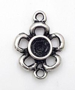 DQ bedel bloem met 2 oogjes antiek zilver 30x22mm
