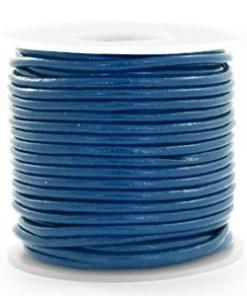DQ Leer rond 2 mm imperial Blue (per meter)