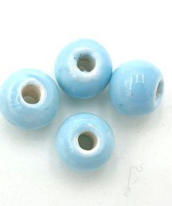 Kralen keramiek 6x8mm licht blauw