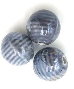 Keramiek kralen grijs gestreept 16mm met glans