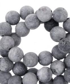 Half edelsteen kralen rond 6mm agaat mat Anthracite grey