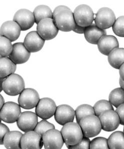 8mm glaskralen opaque Metallic silver