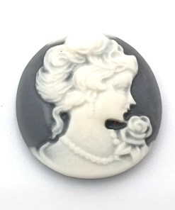 Cabochons Grijs wit camee Lady 20mm