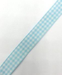 Geruit lint Aqua wit 15mm
