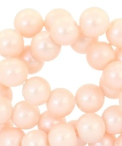 Glaskralen pearl glitter 8mm Pastel coral peach