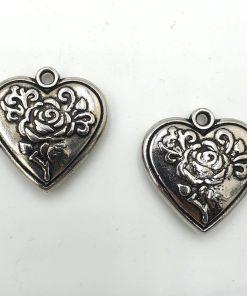 Metallook bedel Hart 30x26mm met roos antiek zilver