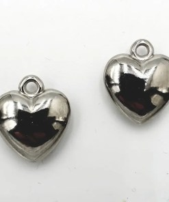 Metallook bedel Hart 21x18mm antiek zilver