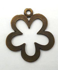 Metalen bedel bloem 40x34mm brons
