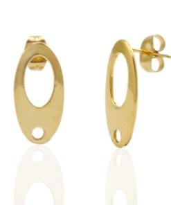Roestvrij stalen (RVS) Stainless steel oorbellen/oorstekers ovaal met oogje Goud