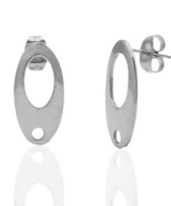 Roestvrij stalen (RVS) Stainless steel oorbellen/oorstekers ovaal met oogje Zilver